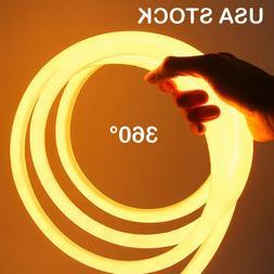 Yellow 360 Degree Flex LED Neon Rope Light Glow Building Hom
